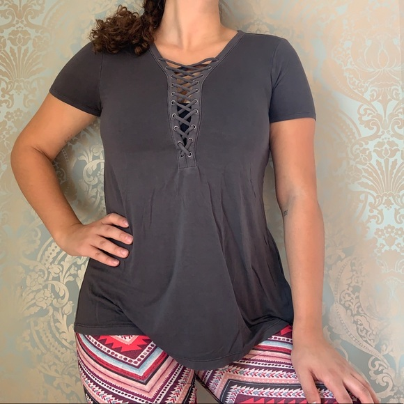 American Eagle Lace Front Casual Short Sleeved Tee